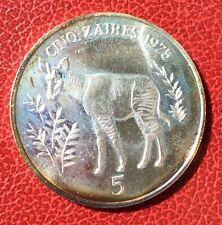 Zaire - Magnifique monnaie de 5 Zaires 1975  en argent - Okapi - WWF -UNC