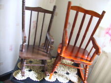 Two Large wood carved doll rocking chairs