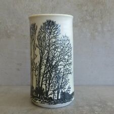 Bev Butler Pottery Vase Australian Pottery 1980s Trees Cream and Black 18.7cm