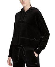 New Calvin Klein Performance Velour Cropped Hoodie Black Size XXL $79 {548J}