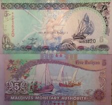 MALDIVES 2011 5 RUFIYAA UNCIRCULATED BANKNOTE P-18 SAILBOATS FROM A USA SELLER