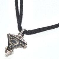 LIKA PARIS collier ras de cou textile noir argenté original bijou necklace A2