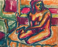 PINIAT 1925-2017 NEW YORK CITY ABSTRACT MODERNIST VINTAGE NUDE FIGURE  PAINTING