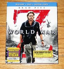 World War Z (Blu-ray/DVD, 2013, 2-Disc Set, Unrated + Digital Copy)Slipcover NEW