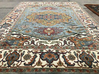 9x12 BLUE WOOL HAND-KNOTTED RUG HANDMADE handwoven traditional carpet big heriz
