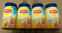 4x Lipton Diet Sugar Free Raspberry Instant Ice Tea Mix 2.6oz 10 Quart Each