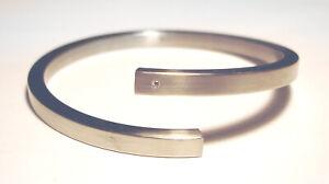 XEN Stainless Steel DIAMOND Modernist MINIMALIST Open Bangle BYPASS  BRACELET
