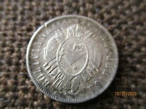 BOLIVIA 20 CENTAVOS 1881 PTS FE, .900 SILVER, ABOUT GVF+, NICE DETAIL, #56-001