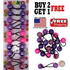 Purple Mix Braid Girls Scrunchie Jumbo Beads Hair Tie Ball Ponytail Holder Band