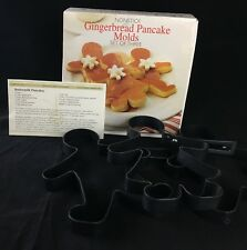 Three (3) Nonstick Gingerbread Pancake Molds With Handles by Amco 2001 NOS