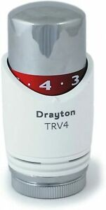 Drayton TRV4 Replacement Thermostatic Sensing Head White Chrome Finish 0794012