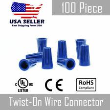 100 Pc Blue Twist On Wire Nut Connector 22 14 Gauge Barrel Conical Screw Usa