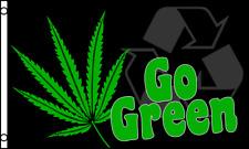 Go Green 3x5 Polyester Marijuana Pot Weed Reefer Leaf Flag