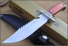SURVIVOR HUNTING SAW BACK BOWIE FIXED BLADE KNIFE WOOD HANDLE FULL TANG NEW