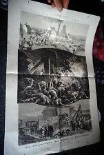 Ancienne Gravure 1877 La Catastrophe du Puit de Mines de Graissessac ( Mineur )