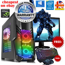 Gaming PC Bundle Quad Core i5 Computer 16GB RAM 1TB Windows 10 2GB GT710 WiFi UK