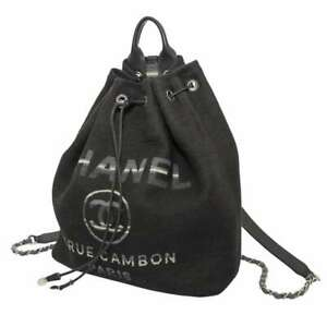 CHANEL Deauville Drawstring Bag Backpack Canvas/Leather Black/Gray A93787