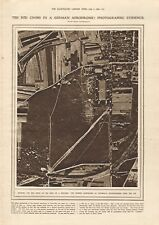 1918  ANTIQUE PRINT WW1 - AERIAL PHOTO-RED CROSS ON ROOF IN GERMAN AERODROME