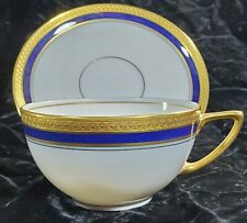 Antique Rosenthal H 1697 Gold Encrusted Trim Cobalt Blue Tea Cup & Saucer Set