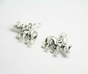 Elephant Earrings 3D Nature Africa .925 sterling silver earrings Pewter Charms
