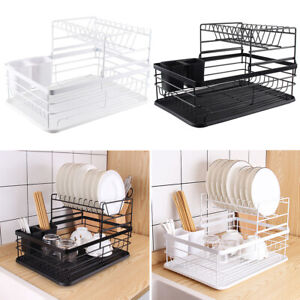 2 Tier Dish Drainer With Cutlery Basket Kitchen Dishes Sink Tray Draining Rack