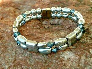 Pick 1 of 9 Magnetic Hematite Men's Women's Bracelet Anklet w SWAROVSKI Crystal