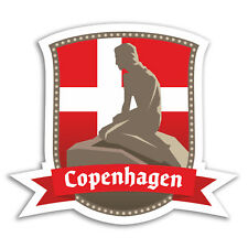 2 x 10cm Copenhagen Denmark Flag Vinyl Stickers - Sticker Luggage Travel #19246