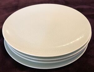 "Crate & Barrel Green Polka Dot Swirl Set of 4 - 8 1/4"" Salad Plates Japan"
