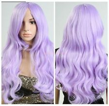 Lady Light Purple Synethetic Hair Long Wavy Curly Cosplay Costume Party Full Wig