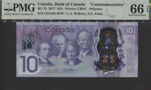 TT PK BC-75 2017 CANADA 10 DOLLARS COMMEMORATIVE  PMG 66 EPQ GEM UNCIRCULATED!