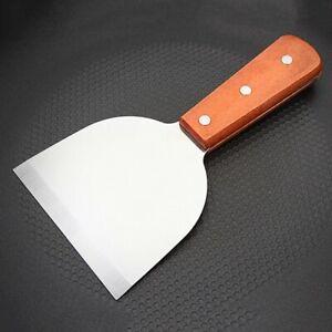 legno bistecca spatola dimensioni 8,5 x 24 cm materiale: acciaio inox spatola per afferrare le mani Sebasti pancake colore argento barbecue Spatola in acciaio inox inclinato per grigliare