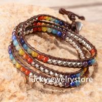 Leather Wrap Multi Color Spare Chakra Beads Natural Stone Bracelet Z098