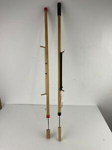 Lot 2 Vintage Wooden Ice Fishing Pole Rig U.S.A. With Ice Pick Jig Stick
