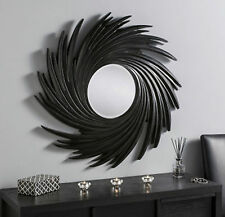 Black Swirl Sunburst Wall Mirror Modern Large 3ft Round Modern Contemporary