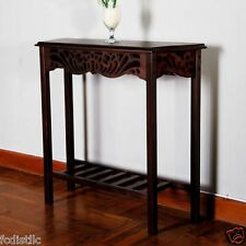 Victorian-Style Solid Mahogany Wood Console Hall Table Dark Brown Color w/ Shelf