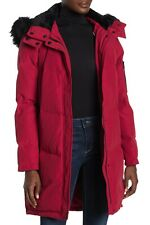 Vince Camuto Women's Faux Fur Trim Hooded Down Puffer Parka Coat Rio Red Size M