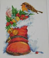 LUCA-S Christmas Boot Cross Stitch Kit B2310 STARTED
