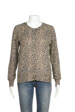 QUOTATION Cardigan Small 100% Cashmere Tan Black Animal Cheetah Sweater Top