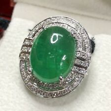 HUGE! 11.10TCW Emerald VS Diamonds 18K solid white gold natural pendant necklace