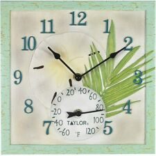 Springfield 92320 12x12 Sand Dollar Poly Resin Decorative Clock with Thermometer
