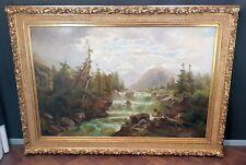 Wasserfall Berner Alpen.  XXL Antik Ölgemälde attr. THEODOR NOCKEN  DDF Museal