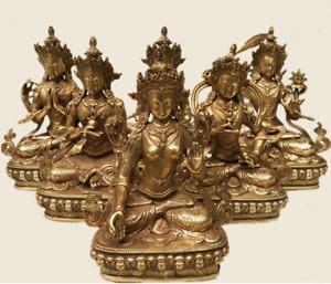 Antique Old Buddhism buddha Kwan-yin Monk Divinity Statue Handwork Bronze/Gilt