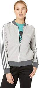 adidas Women's Essentials Color Block Full Zip Bomber Jacket, Grey/White