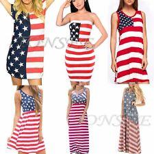 Women Sleeveless Maxi Beach Dress 4th Of July American Flag Sundress Mini Dress