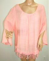 Unique Spectrum Women Plus Size 2x Boho Pale Pink Tunic Top Blouse Shirt Hi Lo