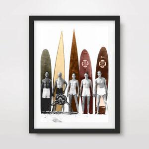 VINTAGE SURFING SURFER WAVES PHOTOGRAPH ART PRINT Poster Decor Artwork Beach