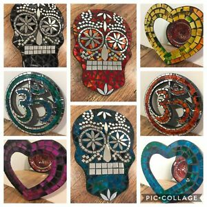 Mosaic Mirror Plaque Wall Art Ceramic Glass Tile Day Of The Dead Scull Heart Om