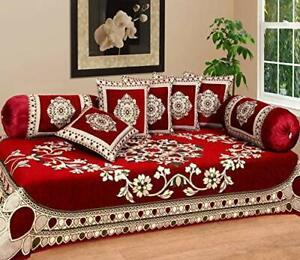 Chenille Deewan Set Bedsheet Cushion Bolster Covers Diwan Set Home Décor Bedding
