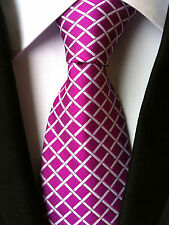 (NT016) Silk Hot Pink Cross Stripe Necktie Wedding Party Office Business For Men