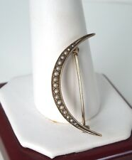Antique Victorian 10k YG Seed Pearls Crescent Moon Brooch/Pin  C Clasp* Gift Box